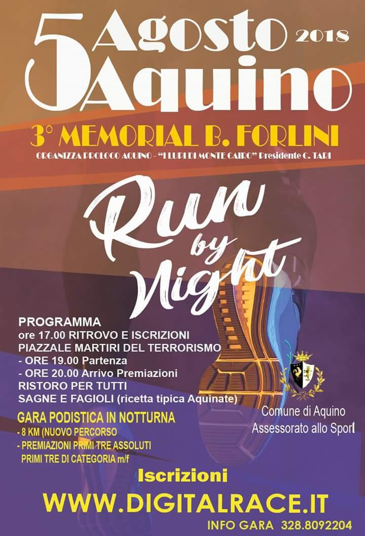"""Aquino run by night"": tutto pronto per il terzo memorial Benedetto Forlini"